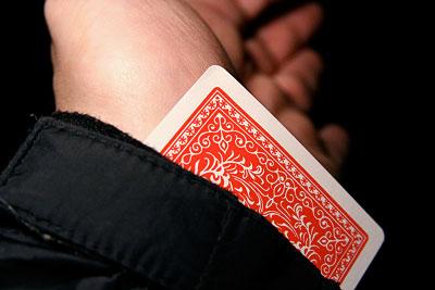 card hidden in sleeve