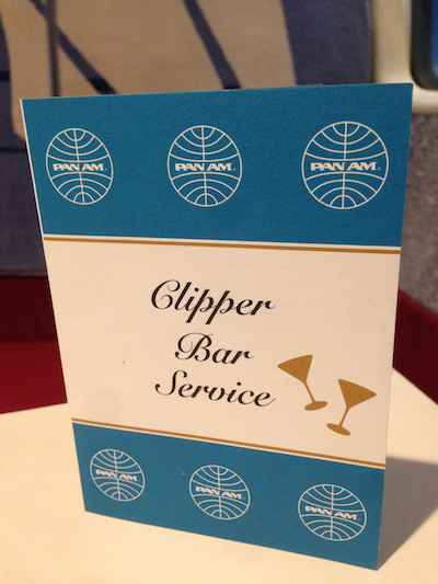 Pan Am Clipper Bar Service Menu