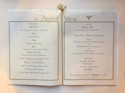 Pan Am Dinner Menu